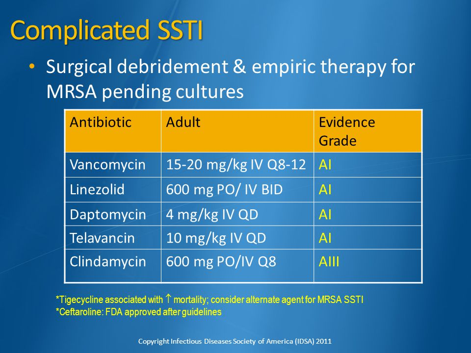Complicated SSTI Surgical debridement & empiric therapy for MRSA pending cultures. Antibiotic. Adult.