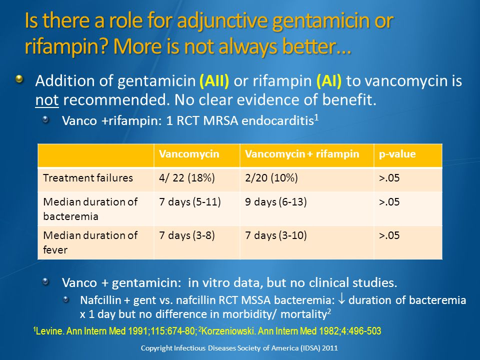 Is there a role for adjunctive gentamicin or rifampin