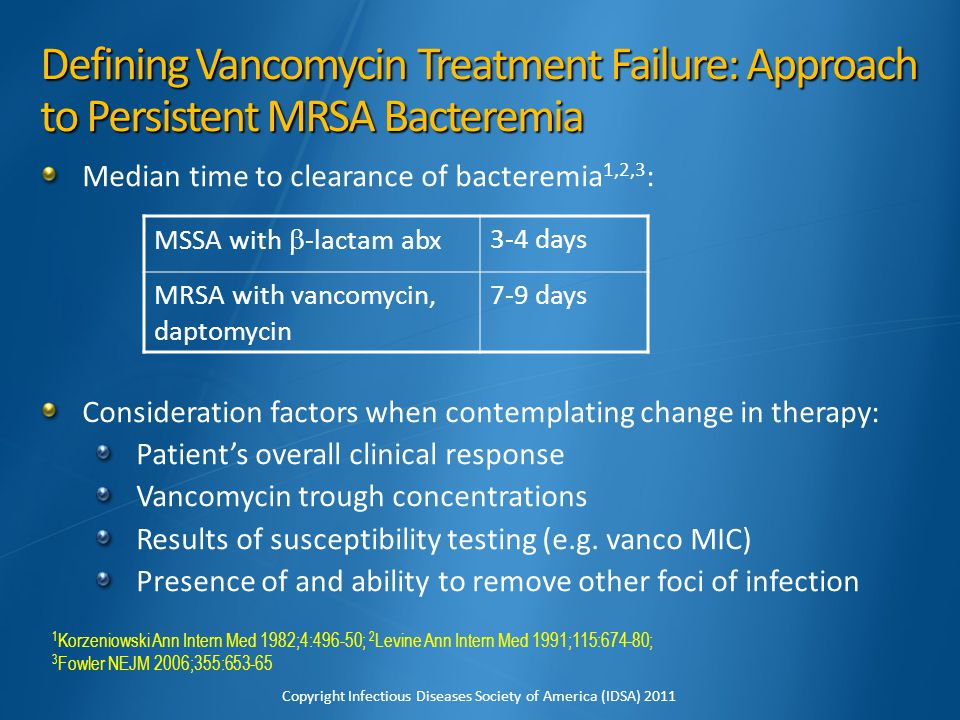 Defining Vancomycin Treatment Failure: Approach to Persistent MRSA Bacteremia