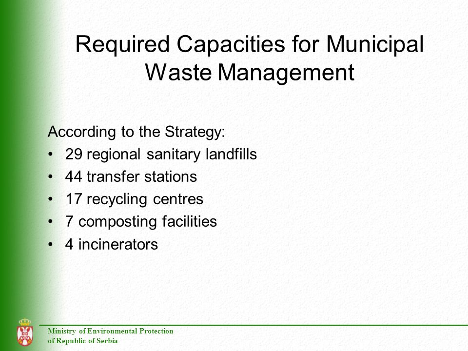 Required Capacities for Municipal Waste Management