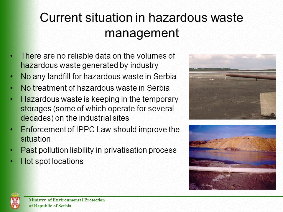 Current situation in hazardous waste management