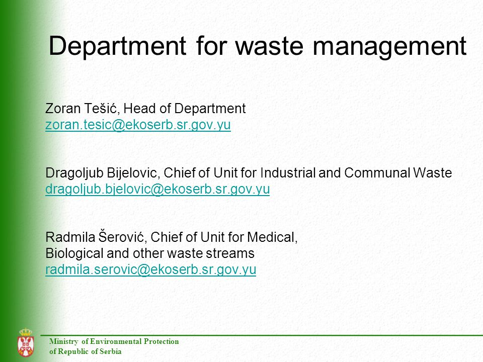 Department for waste management