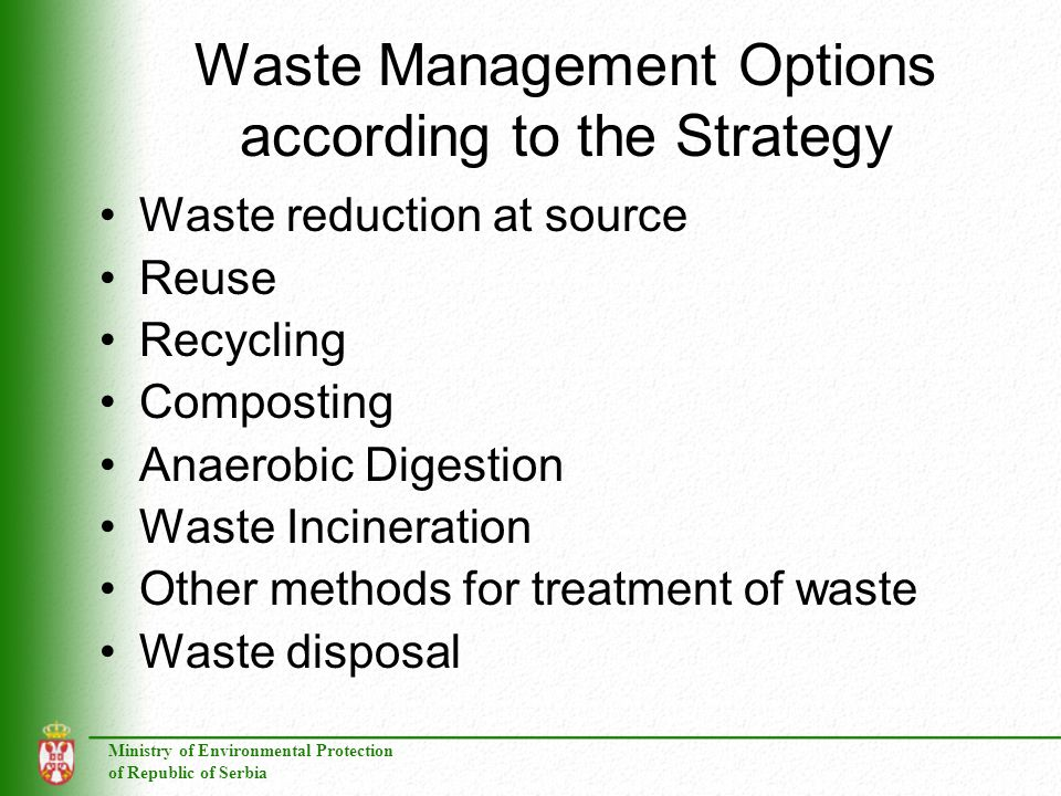 Waste Management Options according to the Strategy