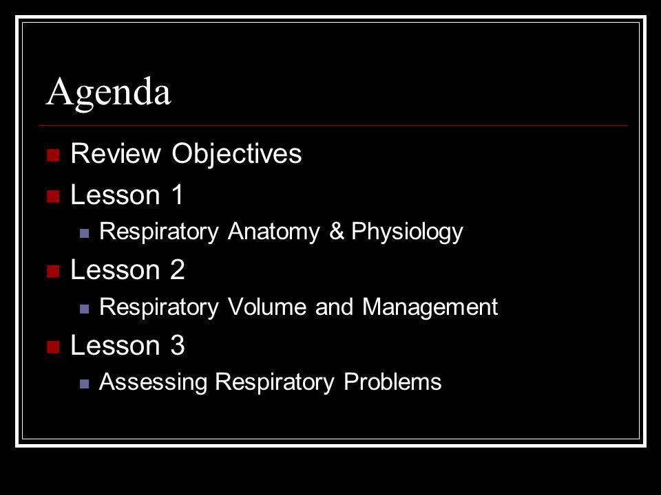 Agenda Review Objectives Lesson 1 Lesson 2 Lesson 3