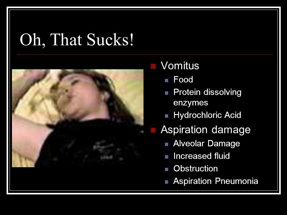 Oh, That Sucks! Vomitus Aspiration damage Food