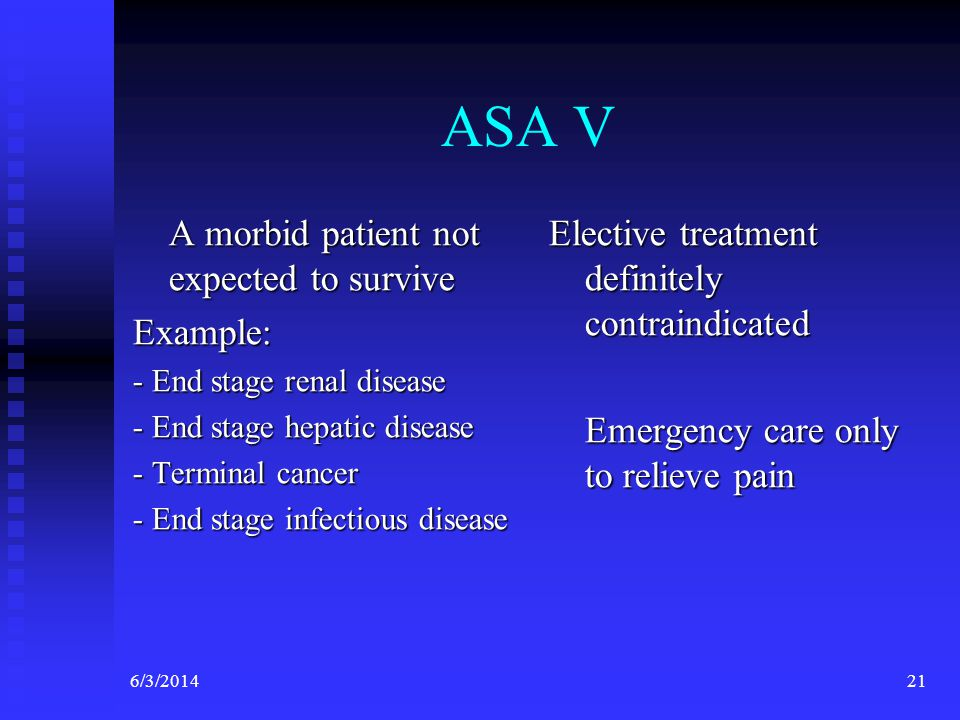 ASA V A morbid patient not expected to survive Example: