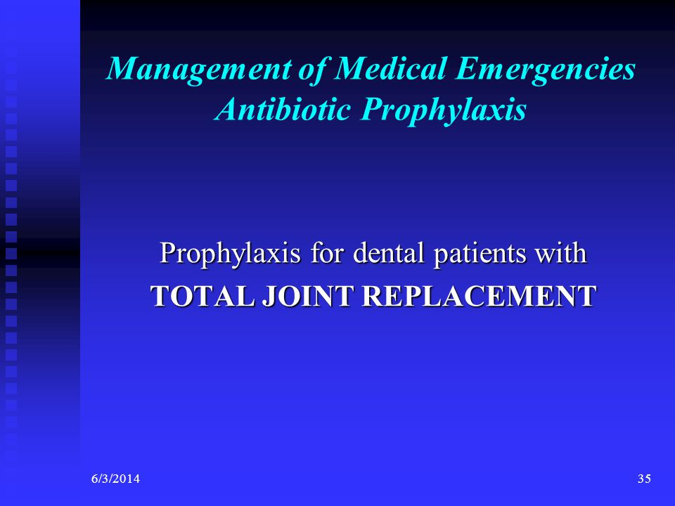 Management of Medical Emergencies Antibiotic Prophylaxis