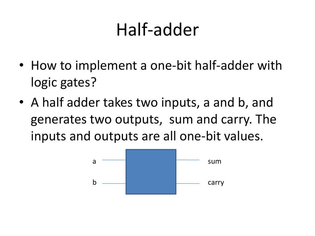 Digital Logic Ppt Download Gates How To Make 2 Bit Or More Half Adder Circuit Gate 10