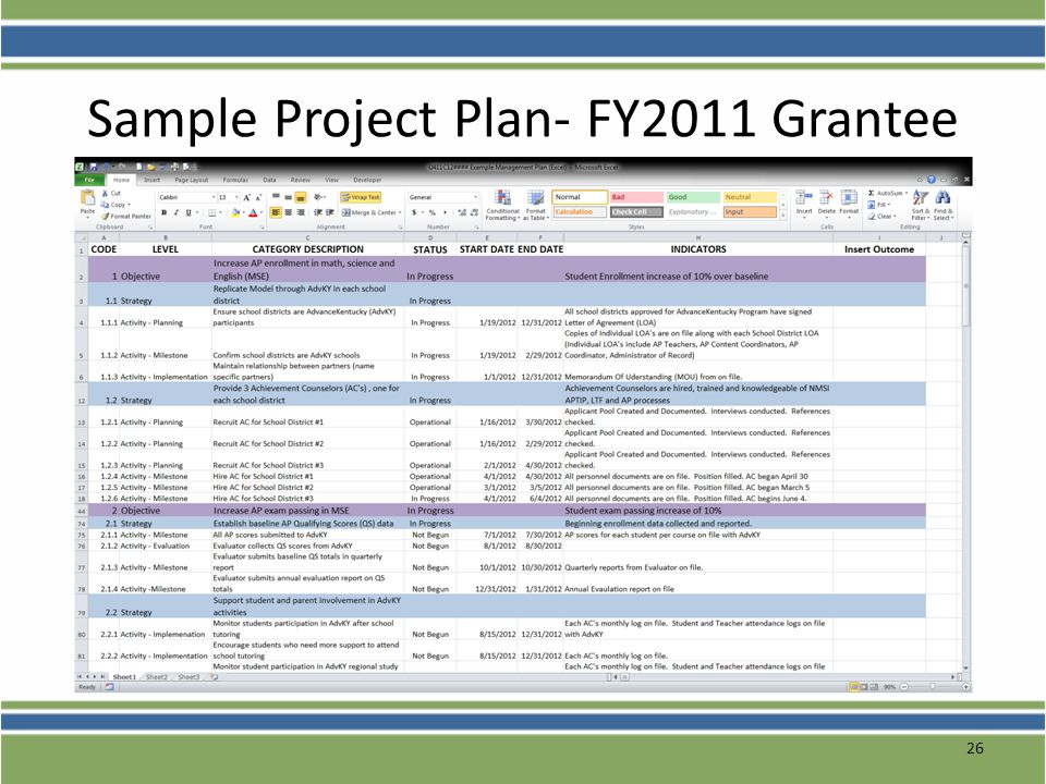 Sample Project Plan- FY2011 Grantee