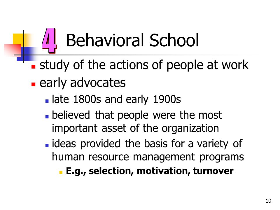 Behavioral School 4 study of the actions of people at work