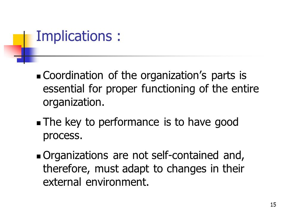 Implications : Coordination of the organization's parts is essential for proper functioning of the entire organization.
