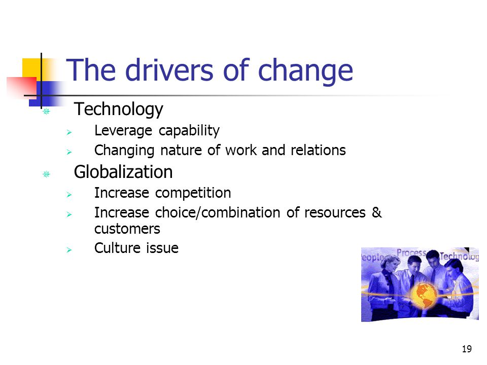 The drivers of change Technology Globalization Leverage capability