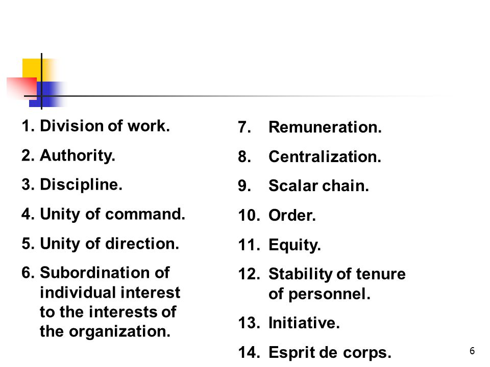 Division of work. Authority. Discipline. Unity of command. Unity of direction.