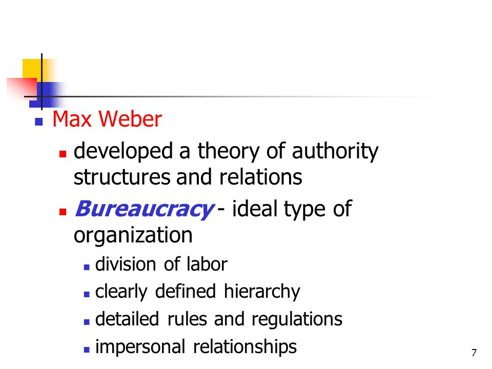 developed a theory of authority structures and relations