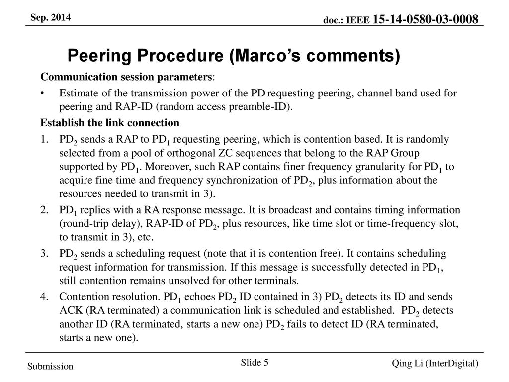 Peering Procedure (Marco's comments)