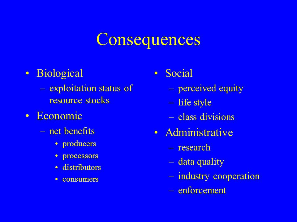 Consequences Biological Economic Social Administrative