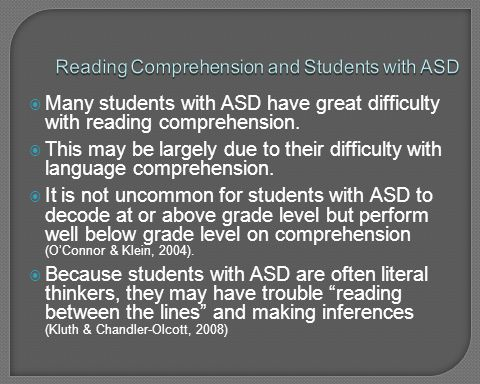 Reading Comprehension and Students with ASD