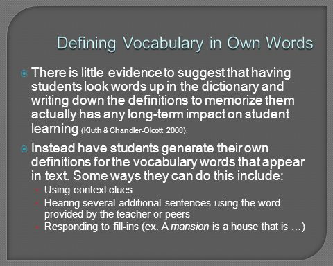 Defining Vocabulary in Own Words