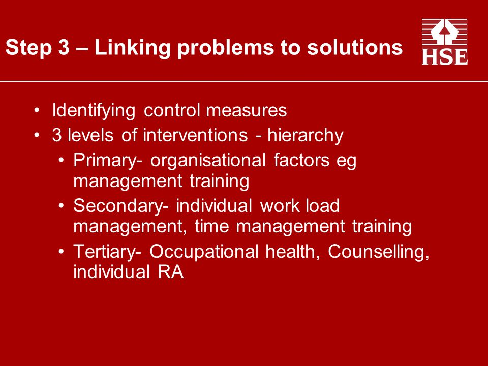 Step 3 – Linking problems to solutions
