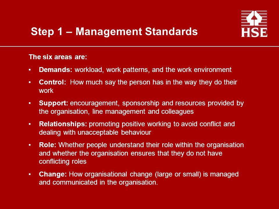 Step 1 – Management Standards