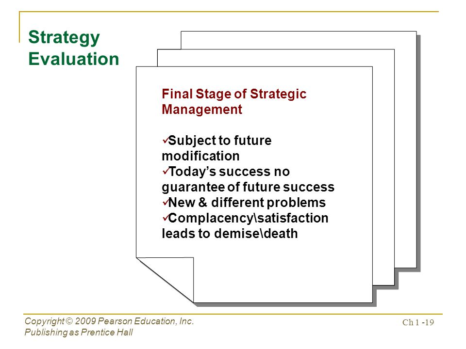 Strategy Evaluation Final Stage of Strategic Management