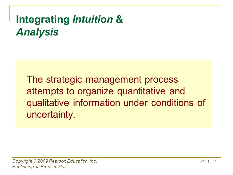 Integrating Intuition & Analysis