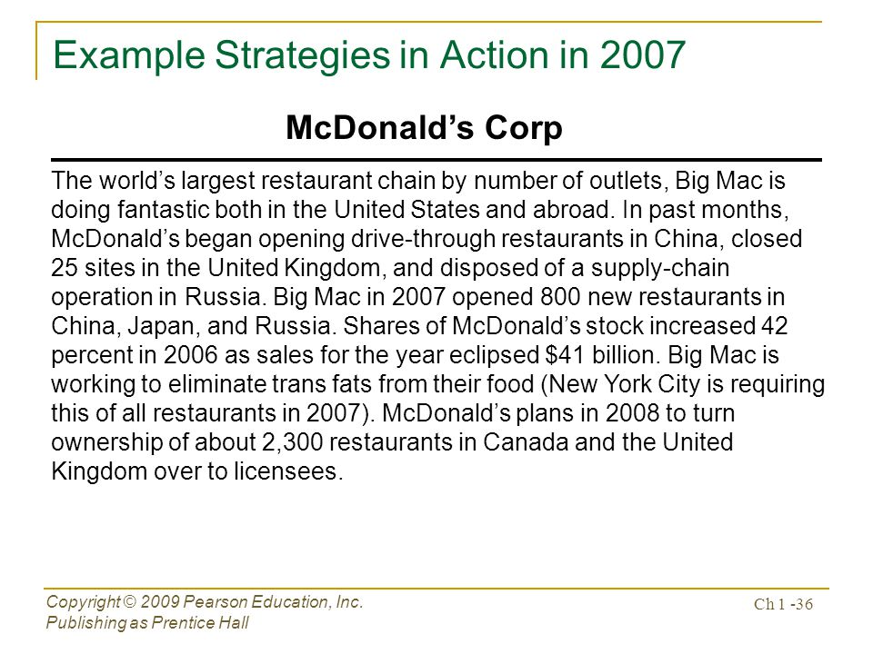 Example Strategies in Action in 2007