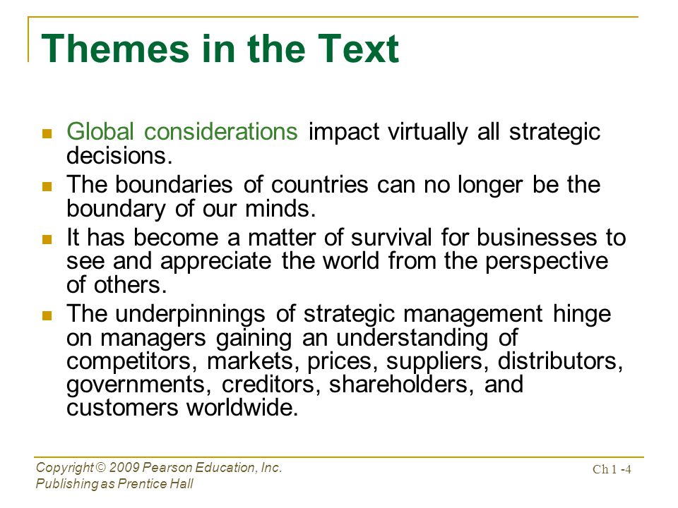 Themes in the Text Global considerations impact virtually all strategic decisions.