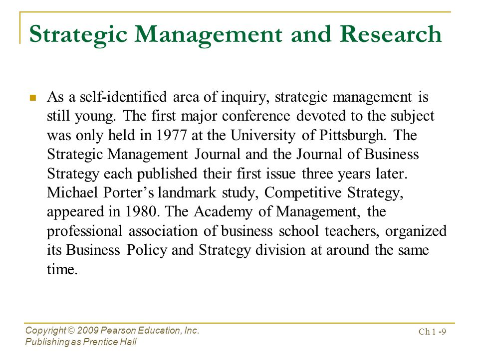 Strategic Management and Research