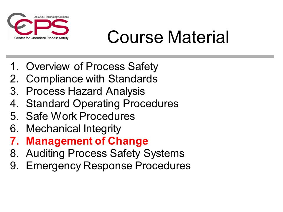 Course Material Overview of Process Safety Compliance with