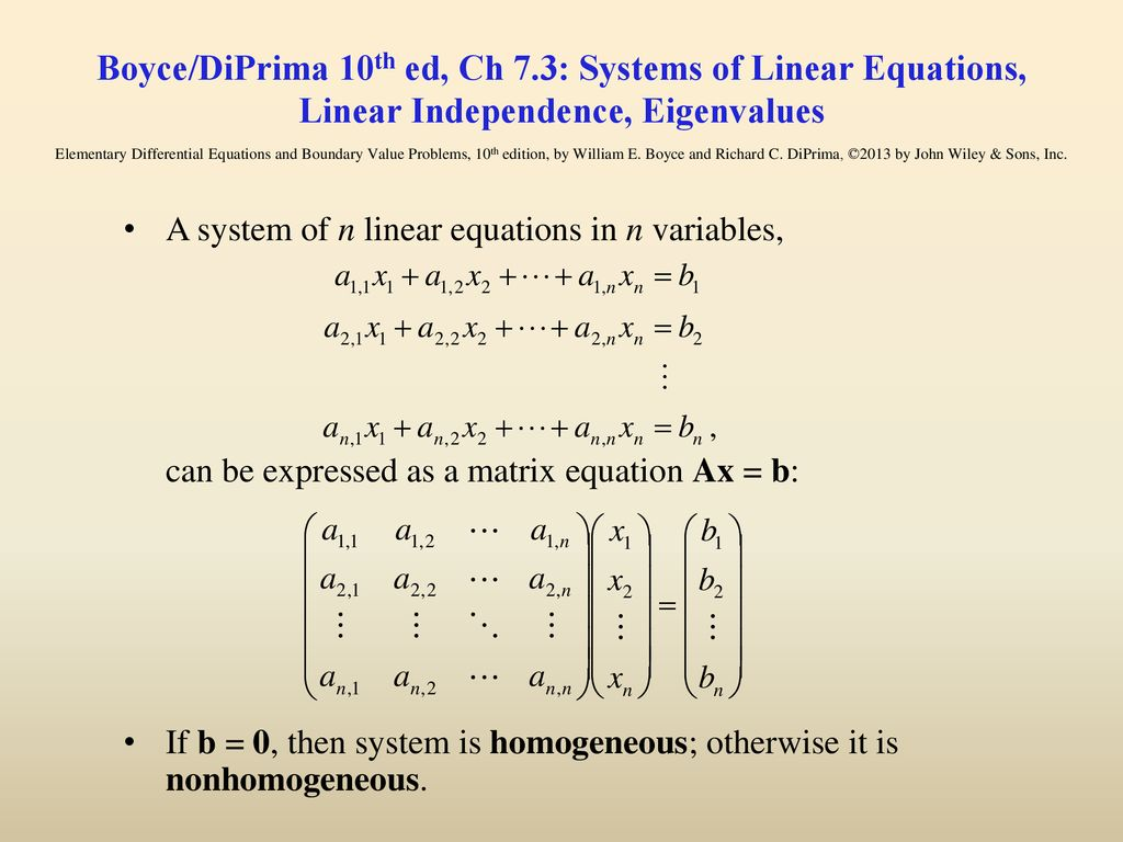 Boyce/DiPrima 10th ed, Ch 7 3: Systems of Linear Equations