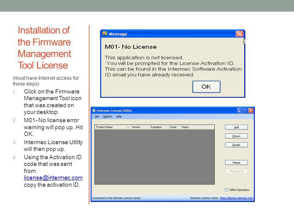 Installation of the Firmware Management Tool License