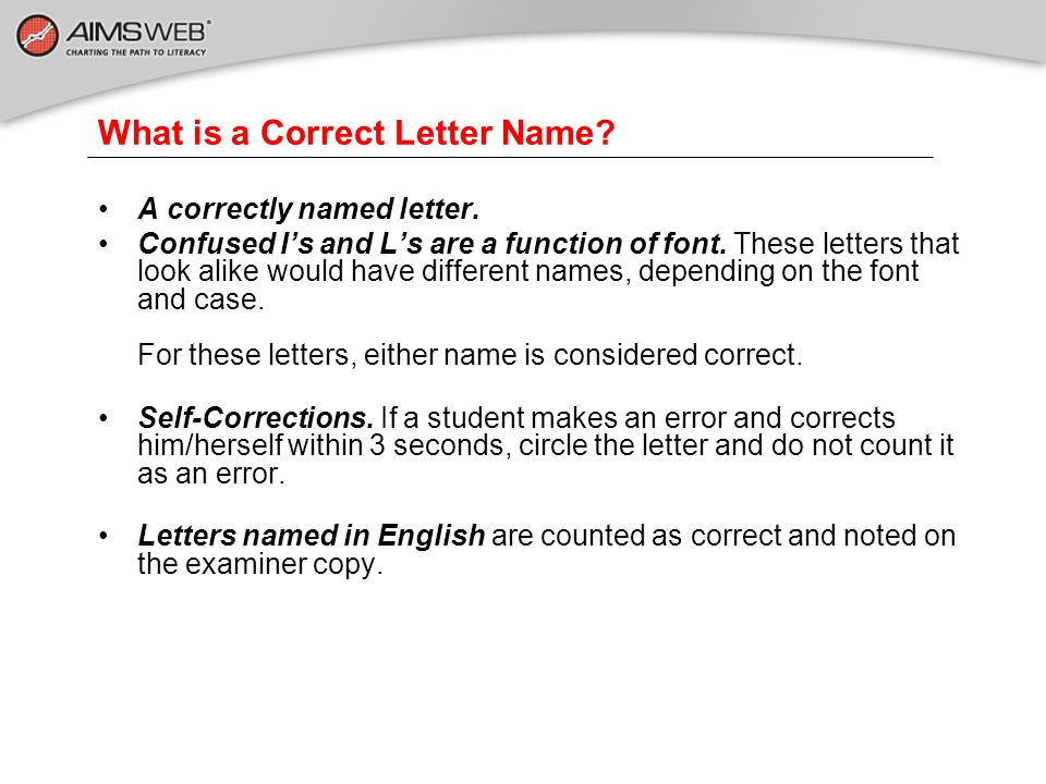 What is a Correct Letter Name