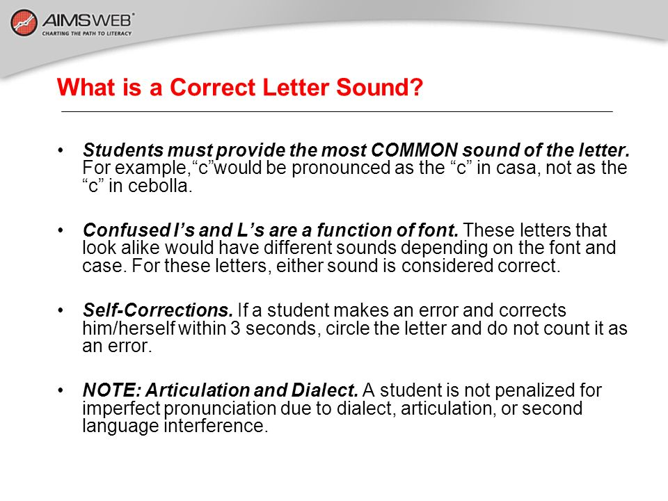 What is a Correct Letter Sound