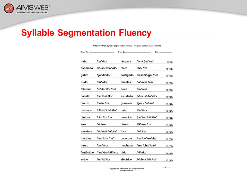 Syllable Segmentation Fluency