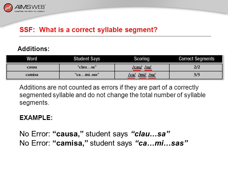SSF: What is a correct syllable segment