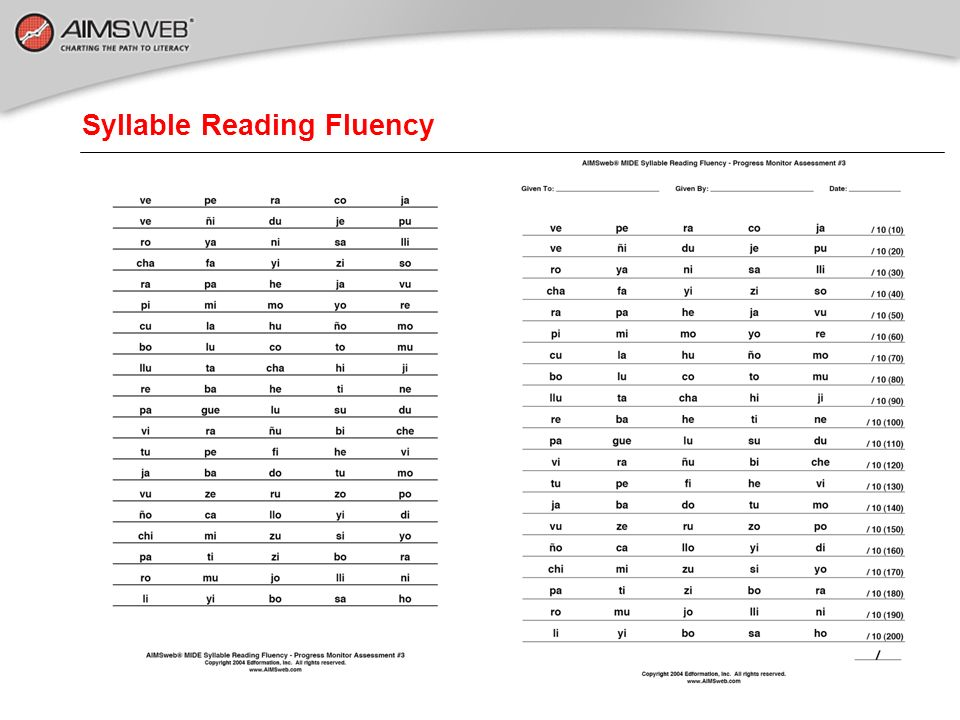 Syllable Reading Fluency
