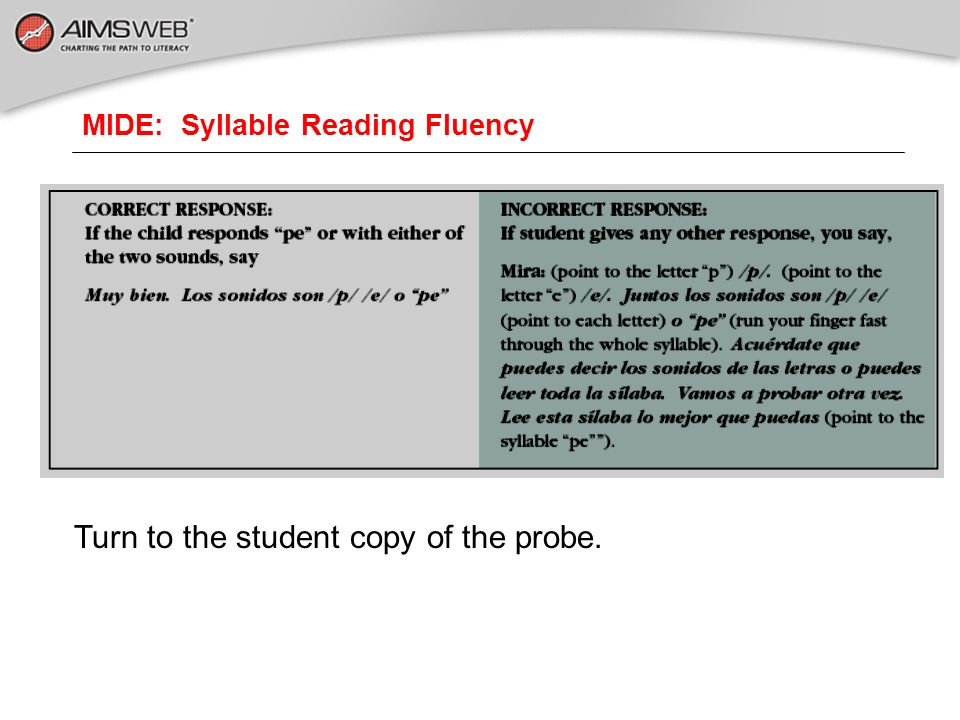 MIDE: Syllable Reading Fluency