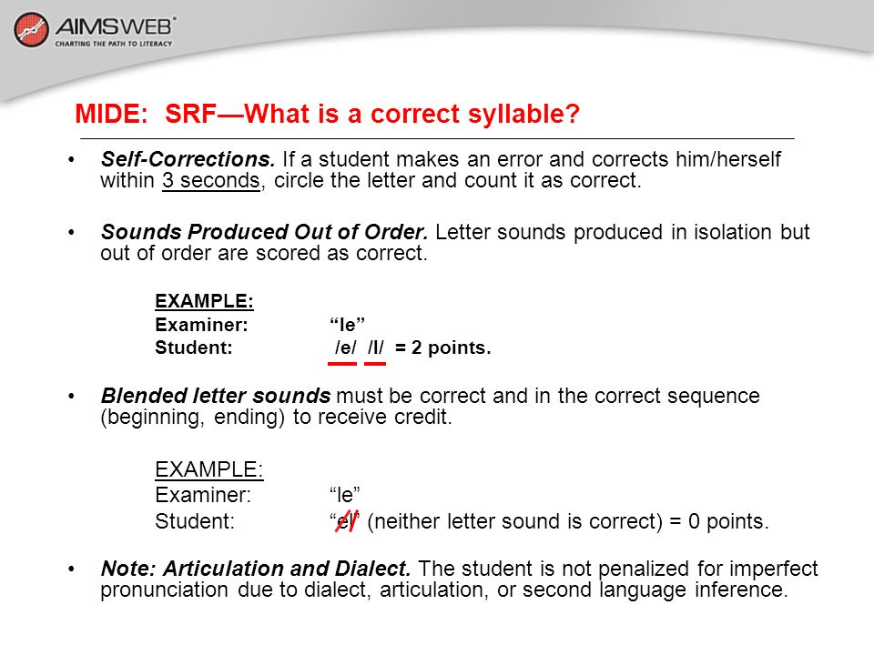MIDE: SRF—What is a correct syllable