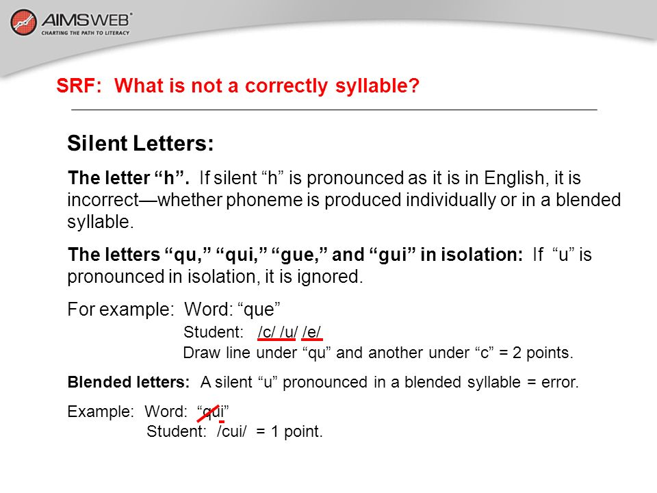 SRF: What is not a correctly syllable