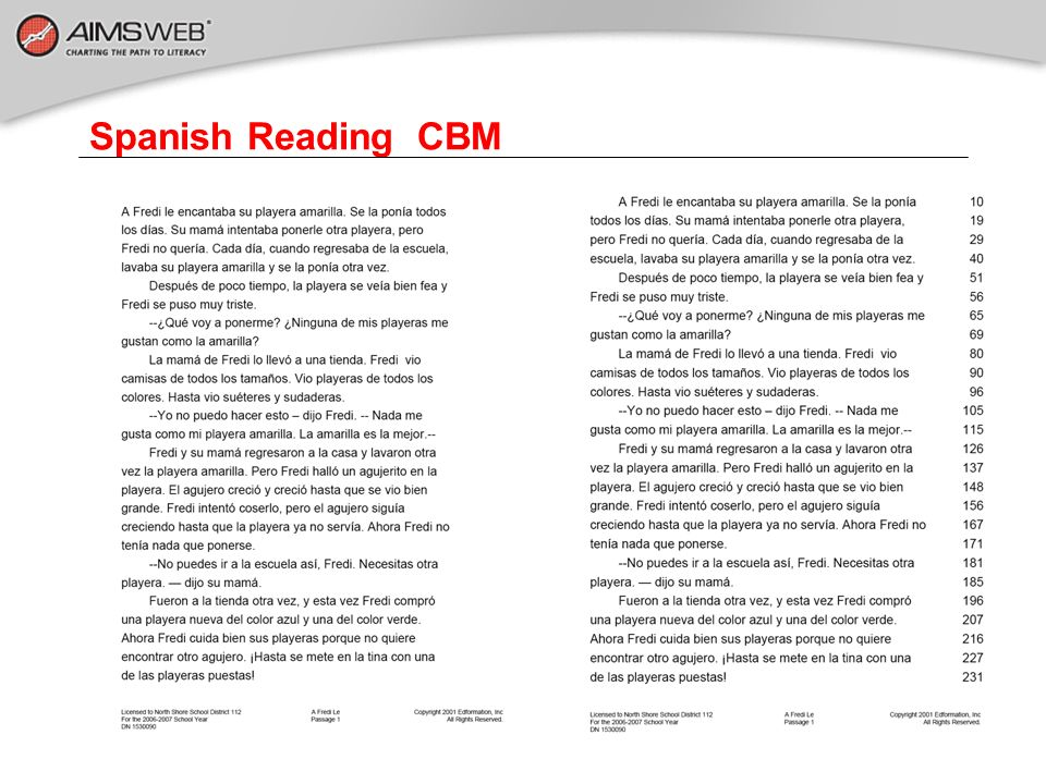 Spanish Reading CBM