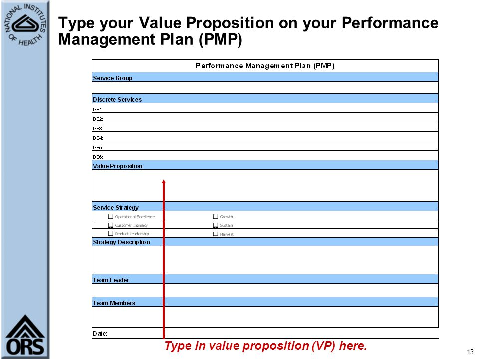 Type your Value Proposition on your Performance Management Plan (PMP)