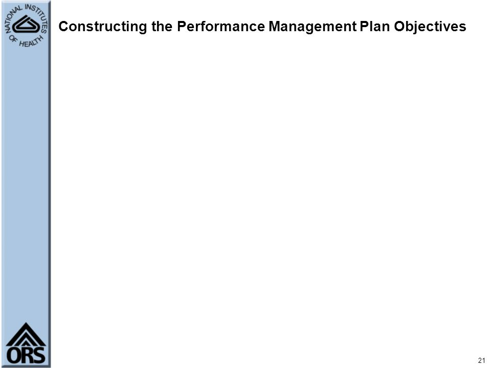 Constructing the Performance Management Plan Objectives