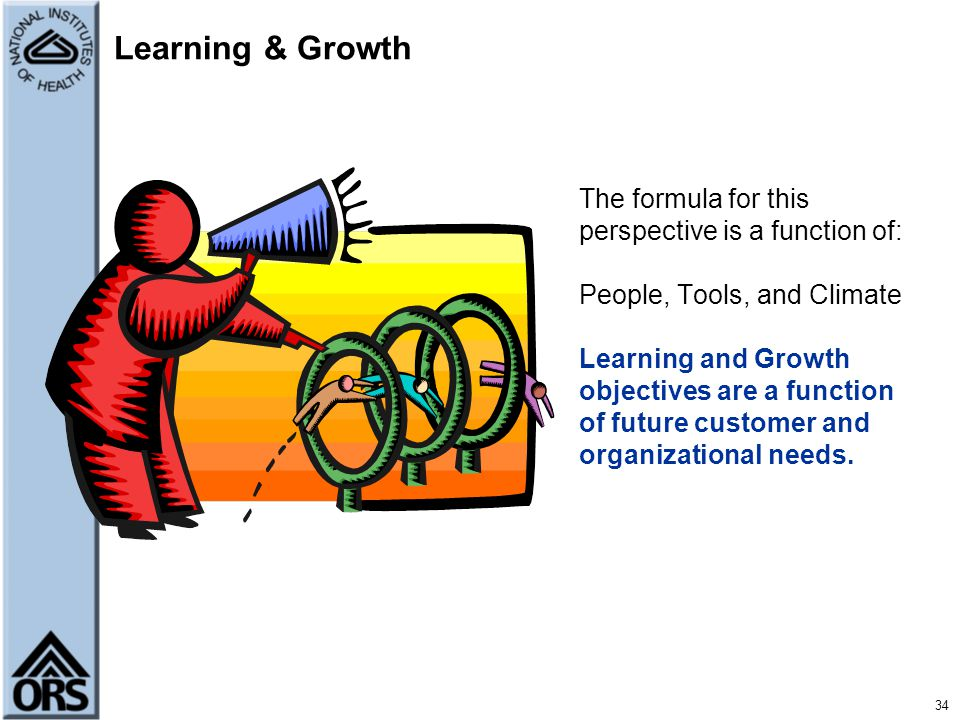Learning & Growth The formula for this perspective is a function of:
