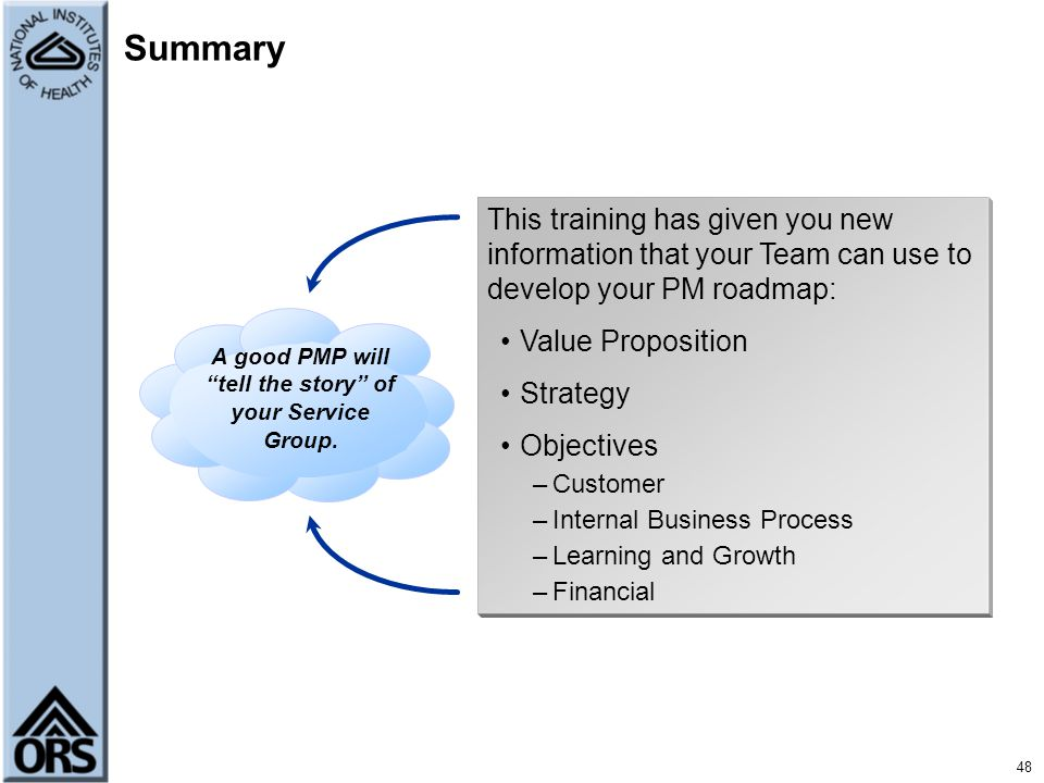 A good PMP will tell the story of your Service Group.