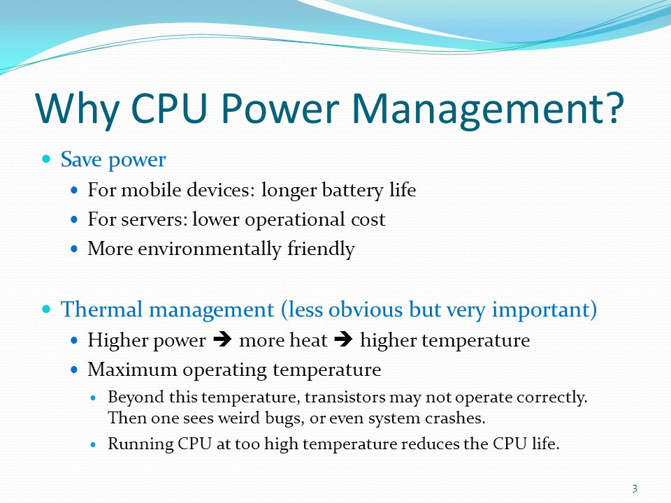 Why CPU Power Management