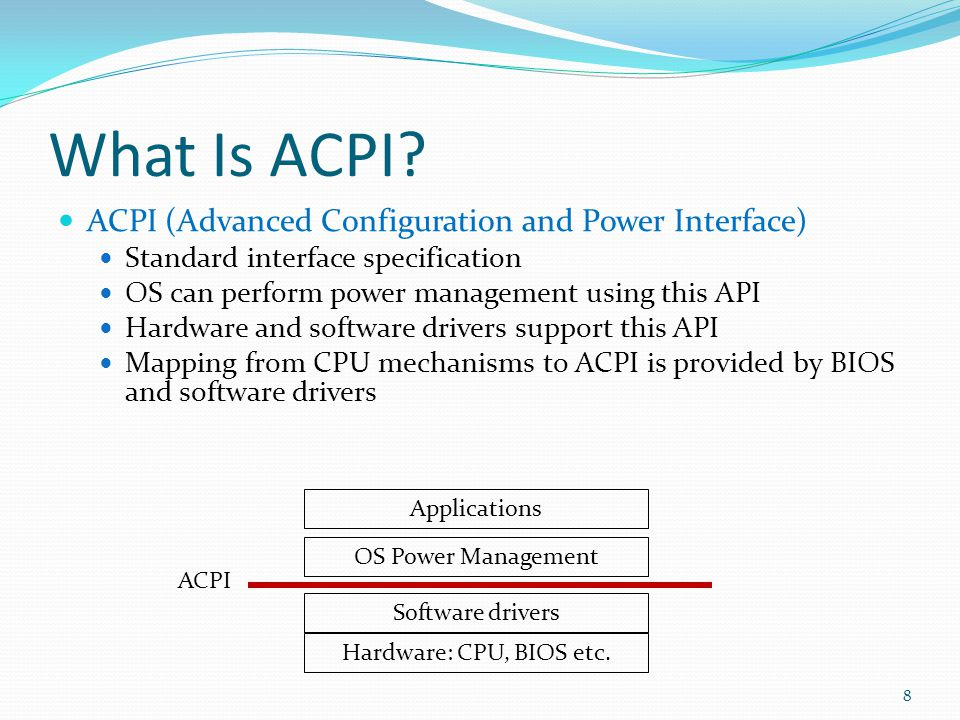 What Is ACPI ACPI (Advanced Configuration and Power Interface)