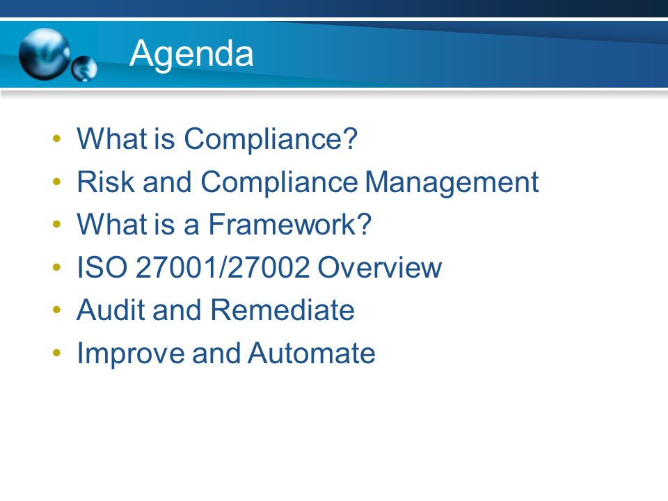 agenda what is compliance risk and compliance management