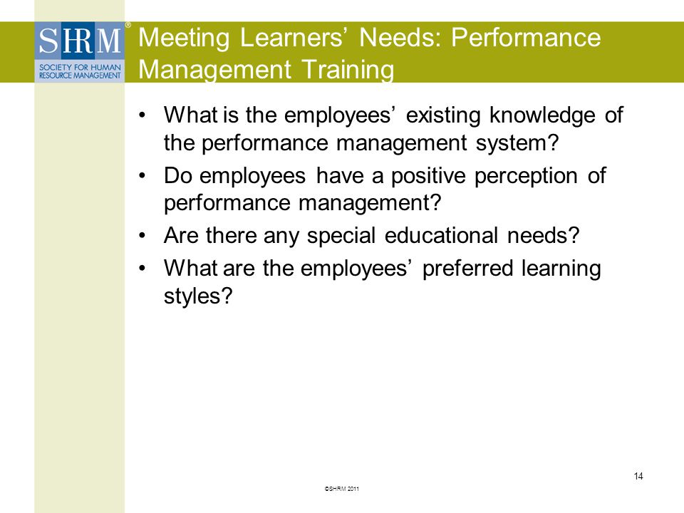 Meeting Learners' Needs: Performance Management Training