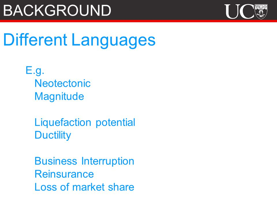 Different Languages BACKGROUND E.g. Neotectonic Magnitude